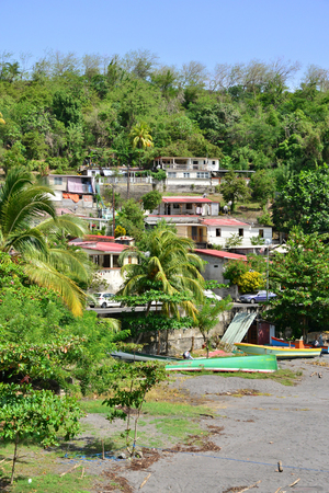 indies: Martinique, the picturesque city of Le Precheur in West Indies