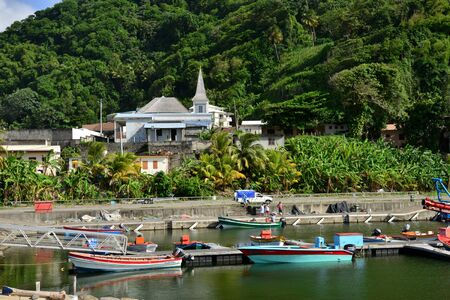 indies: Martinique, the picturesque village of Grand Riviere in West Indies