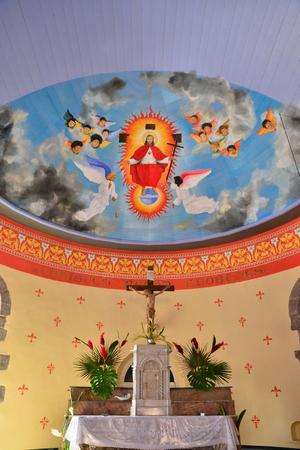 indies: Martinique, paint of jesus in the church of Grand Riviere in West Indies Editorial