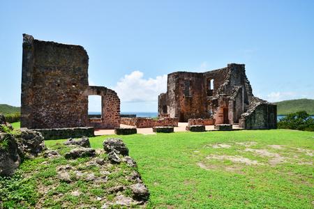 indies: Martinique, the picturesque Dubus castle ruin in West Indies