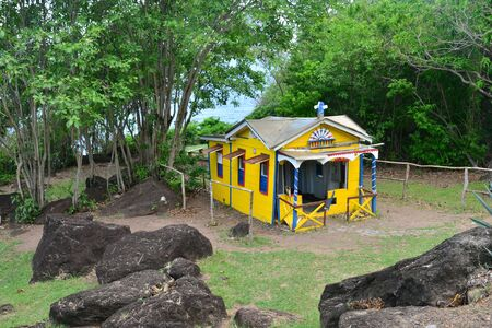 indies: Martinique, the picturesque convict house in the city of Le Diamant in West Indies Stock Photo