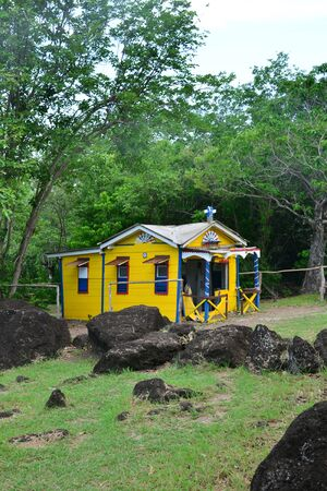 convict: Martinique, the picturesque convict house in the city of Le Diamant in West Indies Stock Photo