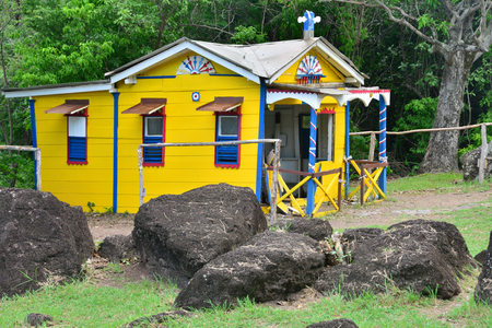 convict: Martinique, the picturesque convict house in the city of Le Diamant in West Indies Editorial