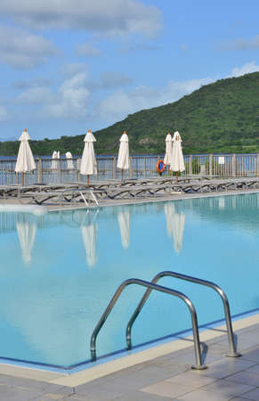 indies: Martinique, a pool in the village of Sainte Anne in West Indies