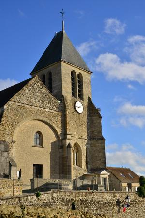 ile de france: Ile de France, the picturesque church of Lainville en Vexin Stock Photo