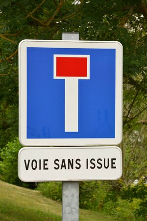 joie: France, no through road sign in the village of Porte Joie in Normandie Stock Photo