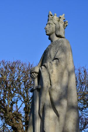 louis: Ile de France, the statue of saint louis in the city of poissy Stock Photo