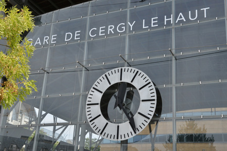 france station: Cergy le Haut, France - august 8 2015 : the train station in the center of the modern city Editorial