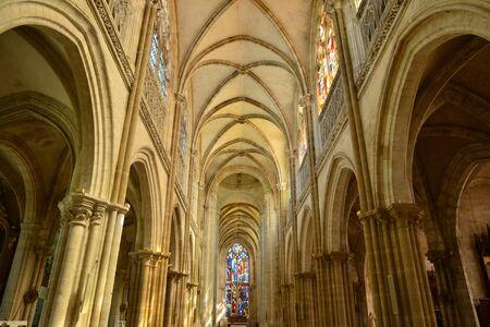monument historical monument: Les Andelys, France - august 10 2015 : the collegiate church build in de 1225