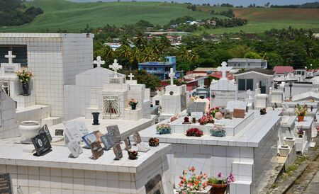 funerary: Martinique, the picturesque cemetery of Sainte Marie in West Indies Editorial