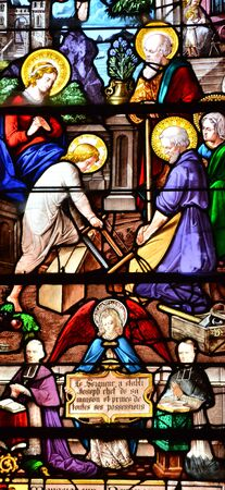 build in: Les Andelys, France - august 10 2015 : stained glass window of Saint Sauveur church of Petit Andelys build in 13 century