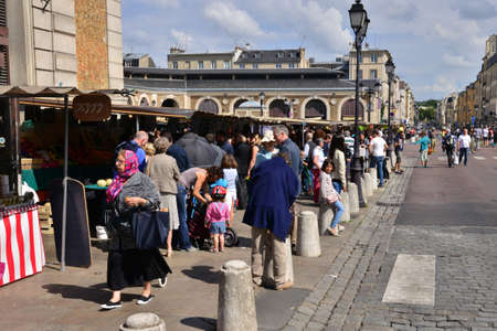 versailles: Versailles, France - august 16 2015 the picturesque food market on sunday morning Editorial