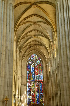 build in: Les Andelys, France - august 10 2015 : the collegiate church build in de 1225