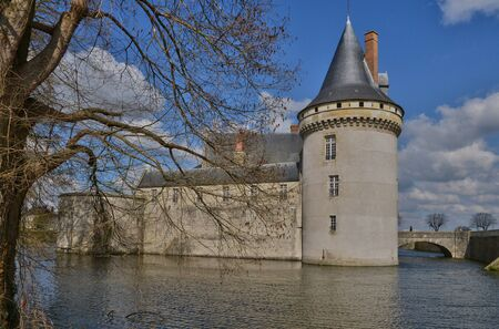 sully: Sully sur Loire, France - april 4 2015 : the medieval castle in spring