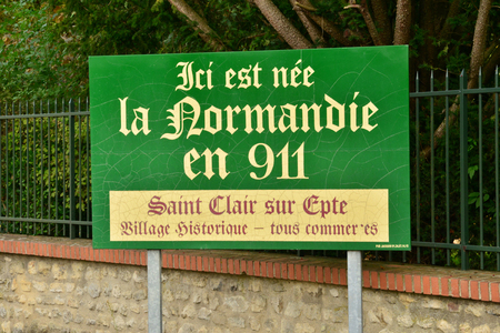 clair: Saint Clair sur Epte, France - october 4 2015 : here the normandie was born wrote on a sign