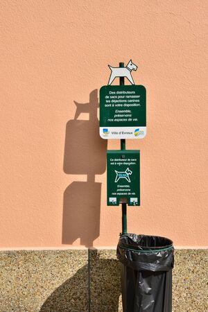 distributor: Evreux, France - august 10 2015 : bag distributor for dog excrement