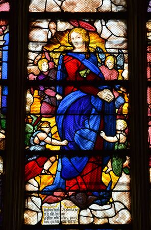 monument historical monument: Les Andelys, France - august 10 2015 : stained glass window of the collegiate church build in de 1225