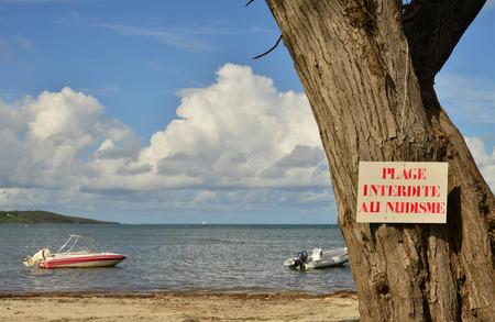 naturist: Le Vauclin, France - november 13 2015 : beach forbidden for nudist wrote on a sign