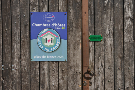 guest room: Themericourt, France - april 4 2015 : a guest room sign Editorial