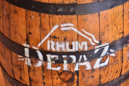 pierre: Saint Pierre, France - september 6 2015 : close up of a Depaz rum barrel Editorial