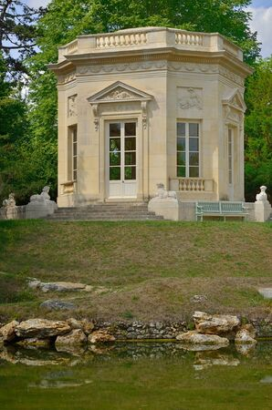 monument historical monument: Versailles, France - august 19 2015 : the belvedere in the Marie Antoinette estate in the parc of Versailles Palace Editorial