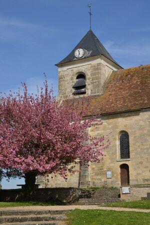 apri: Sagy, France - apri l4 2015 : the picturesque church in spring
