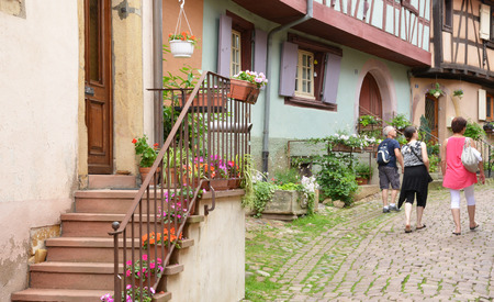 haut rhin: Eguisheim, France - june 19 2015 : the old and picturesque village in summer. Here born the pope Leon 9 in 1002 Editorial