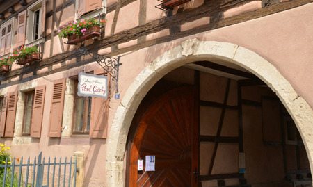 wine grower: Eguisheim, France - june 19 2015 : the old and picturesque village in summer. Here born the pope Leon 9 in 1002 Editorial
