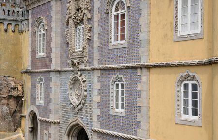 sintra: Sintra, Portugal - july 2 2010 : The Pena National Palace (Portuguese: Palacio Nacional da Pena) is a Romanticist palace in Sao Pedro de Penaferrim, in the municipality of Sintra.