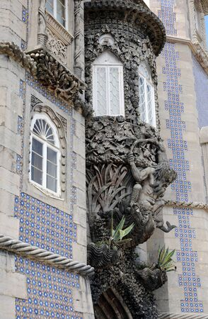 the pena national palace: Sintra, Portugal - july 2 2010 : The Pena National Palace (Portuguese: Palacio Nacional da Pena) is a Romanticist palace in Sao Pedro de Penaferrim, in the municipality of Sintra.