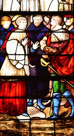 collegiate: Les Andelys, France - august 10 2015 : stained glass window of the collegiate church build in de 1225