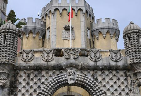pena: Sintra, Portugal - july 2 2010 : The Pena National Palace (Portuguese: Palacio Nacional da Pena) is a Romanticist palace in Sao Pedro de Penaferrim, in the municipality of Sintra.