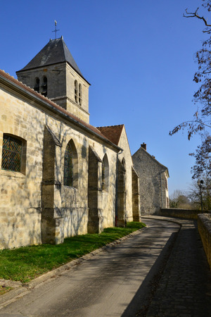 le: Le Perchay, France : the Saint Marie Madeleine church Stock Photo