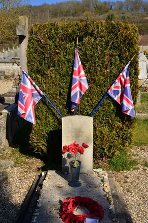 raf: Giverny, France - february 29 2016 : aviator grave. In the night of 7th and 8th june 1944 a RAF Lancaster was crashed in flames in the south of the ville, 7 were died.