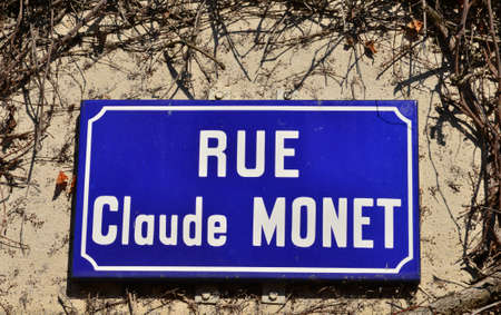 monet: Giverny, France - february 29 2016 : Claude Monet street sign