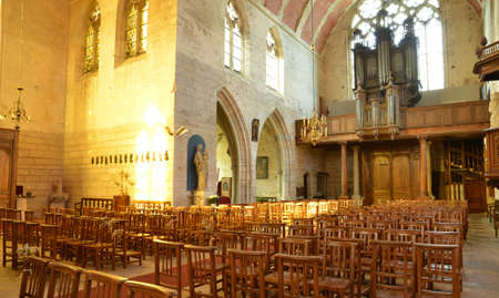 collegiate: Ecouis, France - july 22 2015 : the interior of the collegiate church built between 1310 and 1313