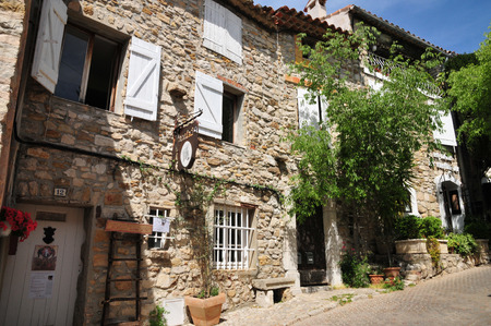 le: Le Castellet, France - april 20 2016 : the picturesque village in spring