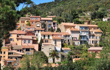 mimose: Bormes les Mimosas; France - april 18 2016 : the picturesque old village in spring