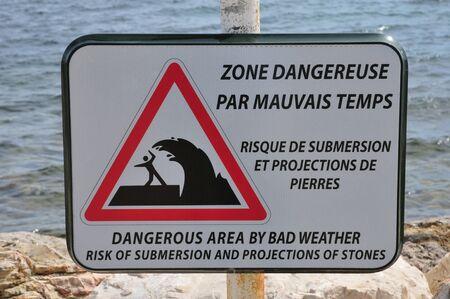 submersion: Sanary sur Mer, France - april 20 2016 : sign of dangerous area