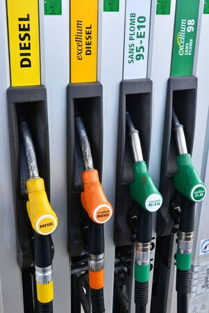 france station: Verneuil sur Seine, France - march 22 2016 : pumps in a filling station Editorial