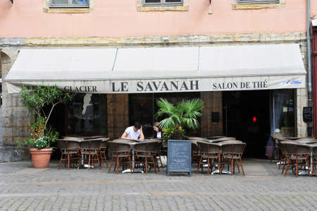 lyon: Lyon, France - april 13 2016: restaurant in the saint Jean district in the old historical Lyon