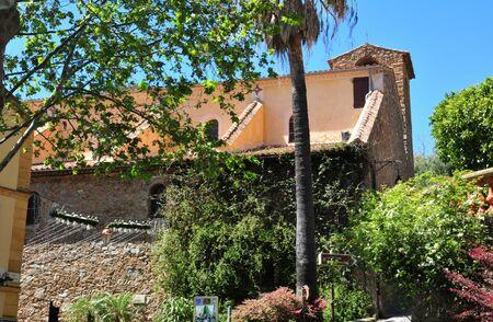 mimose: Bormes les Mimosas, Francia - 18 aprile 2016: il pittoresco vecchia chiesa in primavera Editoriali