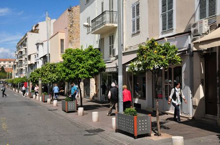 monument historical monument: Antibes, France - april 15 2016 : shops in the city center in spring