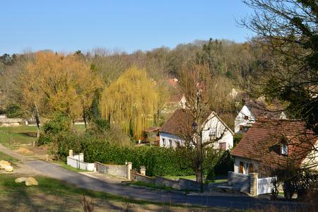 sur: the picturesque village in winter, Oinville sur Montcient, France Stock Photo