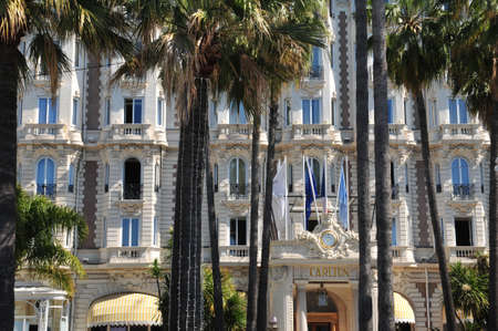 april 15: Cannes, France - april 15 2016 : facade of the Carlton hotel on Croisettel