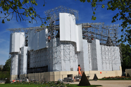 monument historical monument: Rambouillet, France - may 6 2016 : restoration of the royal castle Editorial