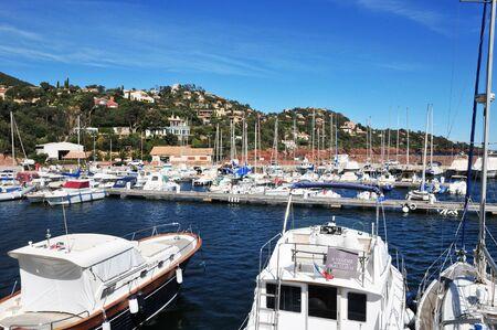 mimose: Théoule sur Mer, Francia - 14 Aprile 2016: il porto turistico