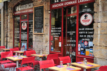 lyon: Lyon, France - april 13 2016: restaurant in saint Jean district in the old historical Lyon