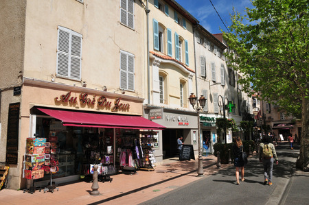 maritimes: Antibes, France - april 15 2016 : shops in the city center in spring