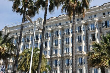 april 15: Cannes, France - april 15 2016 : facade of the Carlton hote on Croisettel Editorial